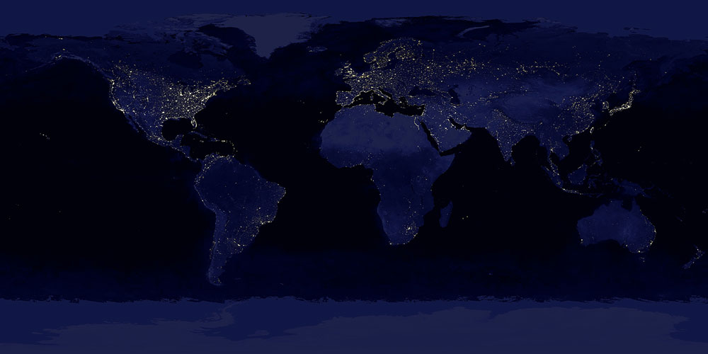 Earth Lights At Night Time And Navigation